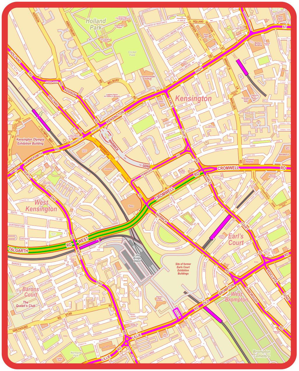London Public Transport Map.Complete Public Transport London Bus Route Map Of Earl S Court