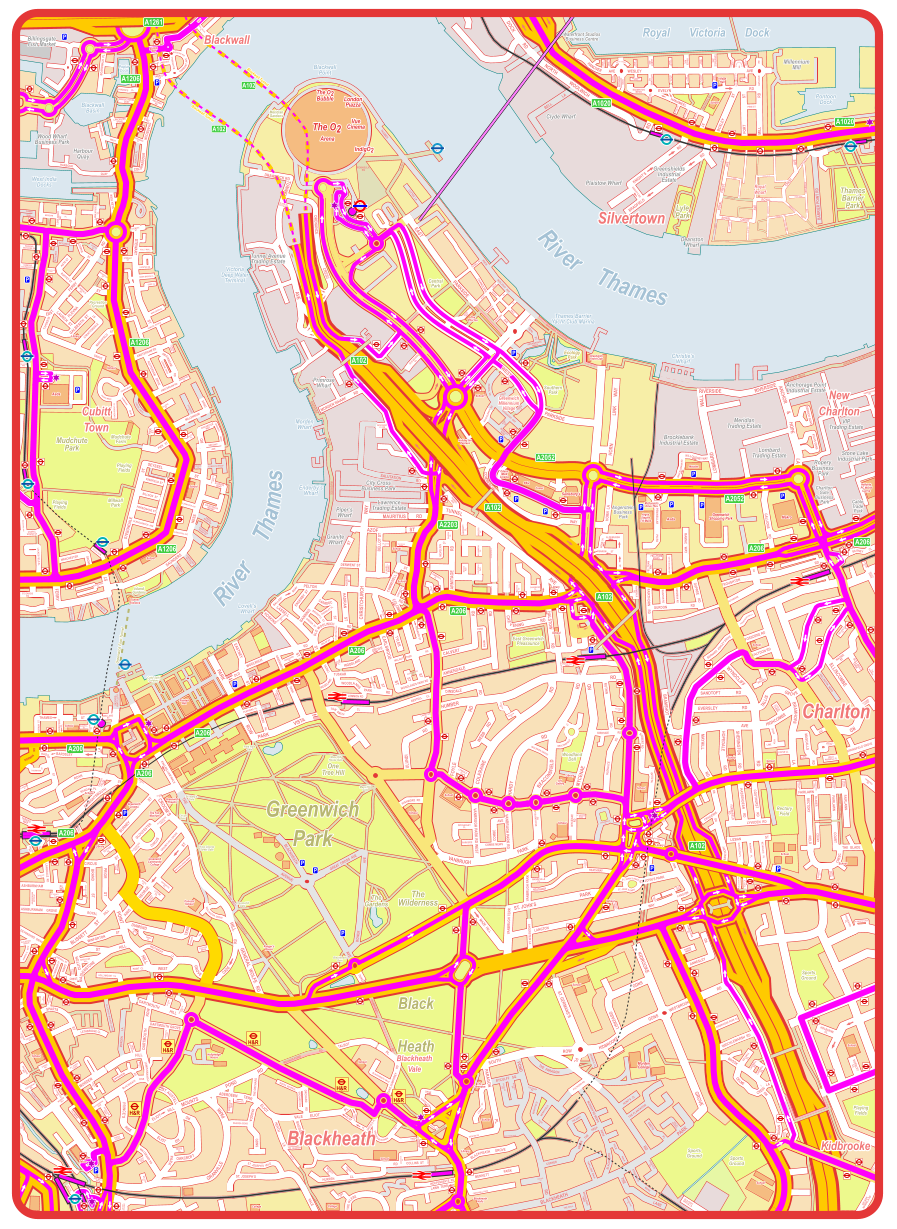 Complete Public Transport, Bus Route map of Greenwich, North ... on